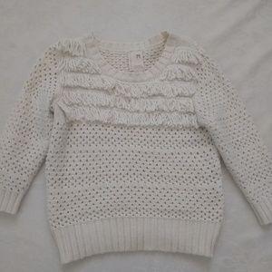 Anthropologie angora fringe chunky knit sweater